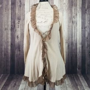 Guinevere taupe & white stripe ruffle cardigan